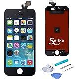 SANKA iPhone5 フロントパネル A+ランク デジタイザ タッチパネル LCD 液晶セット ブラック アイフォーン修理バーツ 交換工具付き(黒)