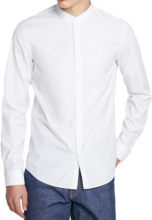 Camicia Uomo Slim Fit Bianca Sartoriale Elegante Aderente Celeste s m l xl xxl