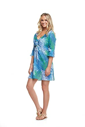 90a714318a Mud Pie Women's Beach Cover Up, Palm Leaf (Large) at Amazon Women's ...