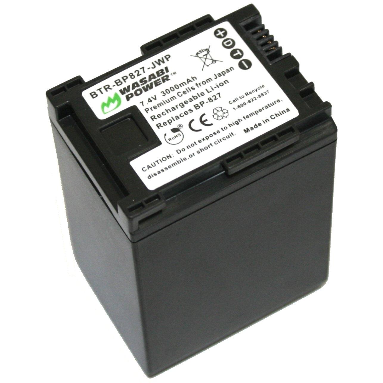 Wasabi Power Battery for Canon BP-827 (3000mAh) and Canon VIXIA HF G10, HF G20, HF M30, HF M31, HF M32, HF M40, HF M41, HF M300, HF M400, HF S10, HF S11, HF S20, HF S21, HF S30, HF S100, HF S200, HF10, HF11, HF20, HF21, HF100, HF200, HG20, HG21, HG30, XA1