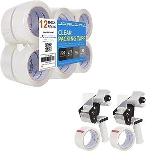 JARLINK Packing Tape Dispenser Gun (2 Pack) with 2 Rolls Tape Bundle with Packing Tape (12 Rolls) for Shipping Packaging Moving Sealing