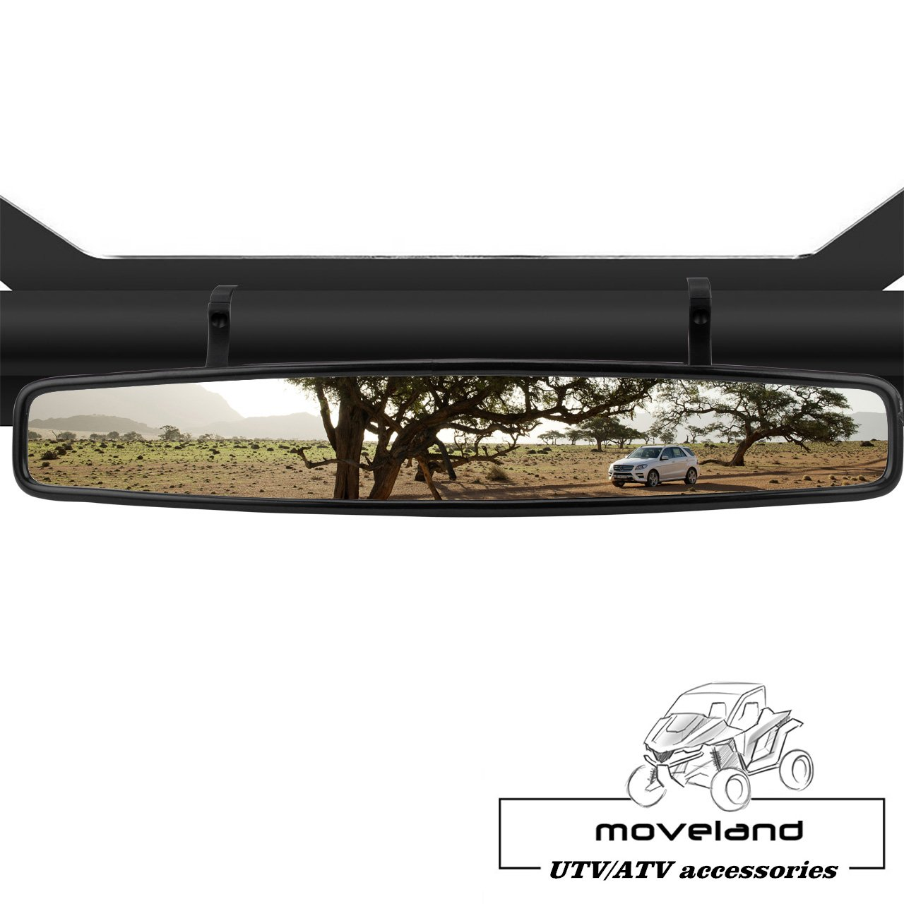 15'' Wide Angle UTV Rear View Race Mirror with Anti-Scratch Shatterproof Glass, Moveland Convex Mirror with 1.75-inch Clamp for Polaris RZR 800 1000 S 900 XP 1000 and More by moveland (Image #5)