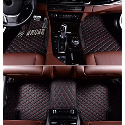 Okutech Custom Fit All Weather 3D Covered XPE- Leather Car Carpet FloorLiner Floor Mats for BMW X5 2014-2017,Black with red stitching