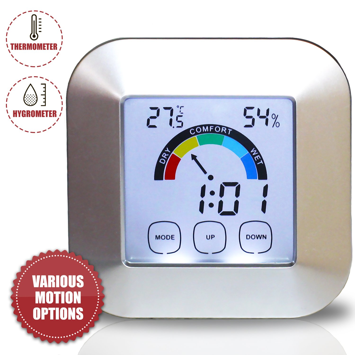 Portable Digital Electronic Indoor Weather Station Thermometer-Hygrometer with LCD Screen for Baby Kids Home Car Office iHubr
