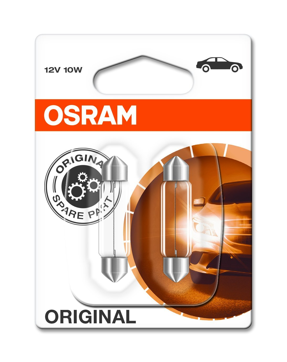 OSRAM Original 12V C10W lampada ausiliaria alogena 6411-02B in Blister doppio