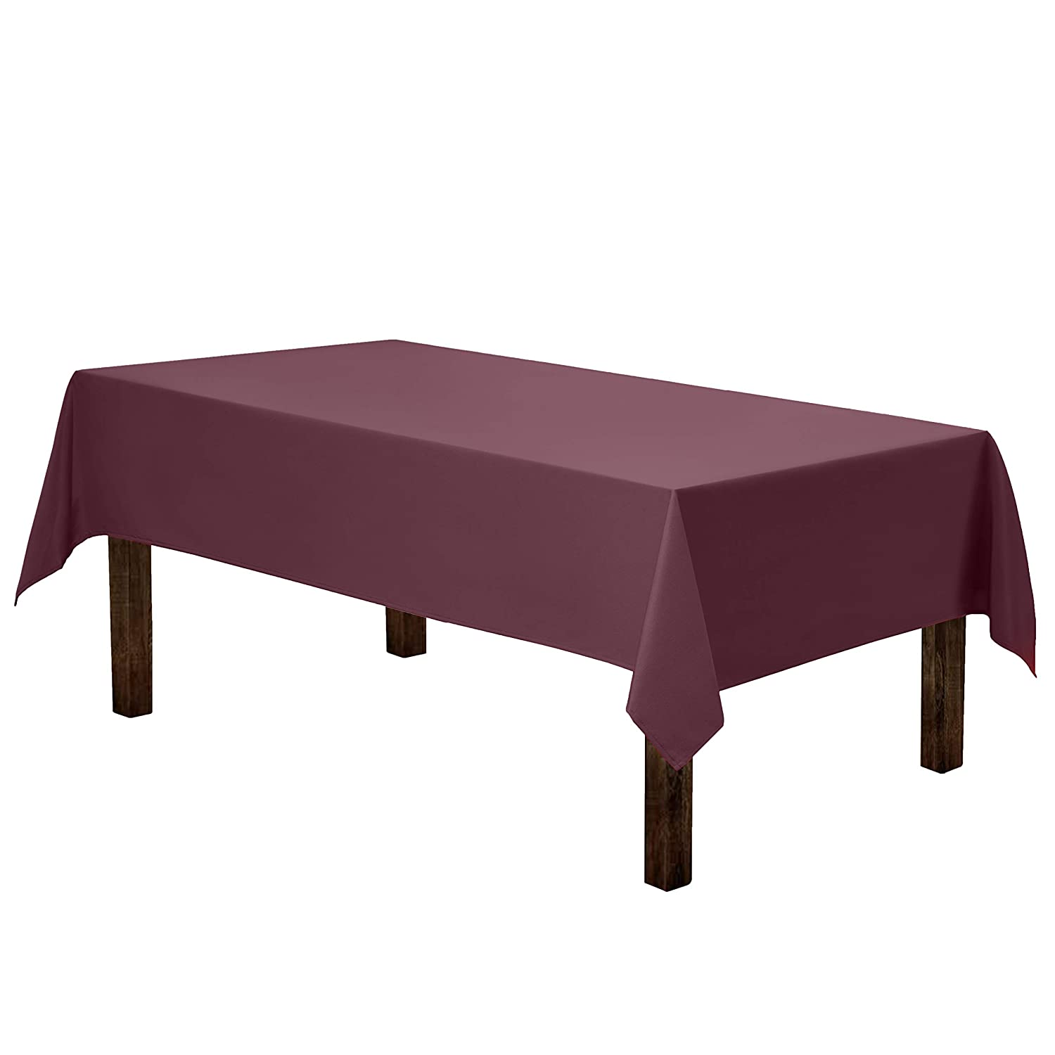 Gee Di Moda Rectangle Tablecloth - 60 x 84 Inch - Burgundy Rectangular Table Cloth for 5 Foot Table in Washable Polyester - Great for Buffet Table, Parties, Holiday Dinner, Wedding & More