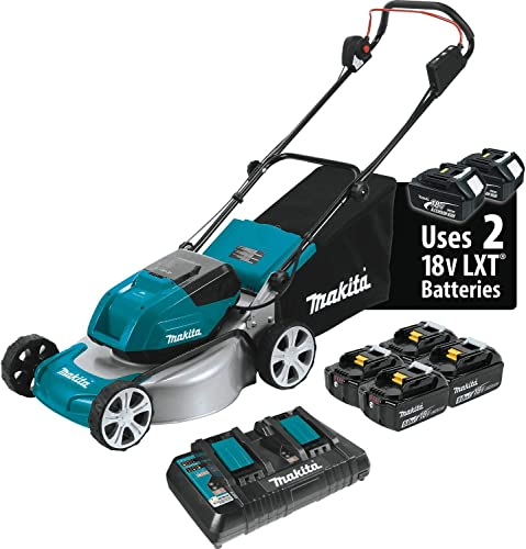 Makita XML03PT1 18V X2 36V LXT Lithium Ion Brushless Cordless 5.0Ah 18 Lawn Mower Kit with 4 Batteries, Teal