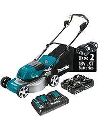 "Makita XML03PT1 18V X2 (36V) LXT Lithium‑Ion Brushless Cordless (5.0Ah) 18"" Lawn Mower Kit with 4 Batteries"", Teal"
