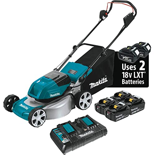 Makita XML03PT1 18V X2 36V LXT Lithium Ion Brushless Cordless 5.0Ah 18 Lawn Mower Kit with 4 Batteries, Teal