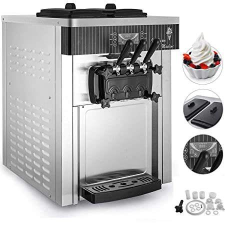 VEVOR Commercial Soft Ice Cream Machine 2200W 3 Flavors 5.3-7.4Gallons H Auto Clean LED Panel Perfect for Restaurants Snack Bar supermarkets