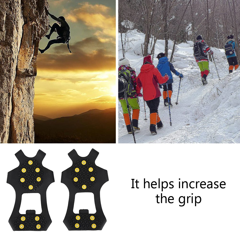 Adult Anti Slip Shoe Spikes with 10 Teeth Shoe Claws Ice Cleats Sole Protection from Slipping for Winter Mountaineering Fishing 4 Size for Women Men Senior Snow Spikes