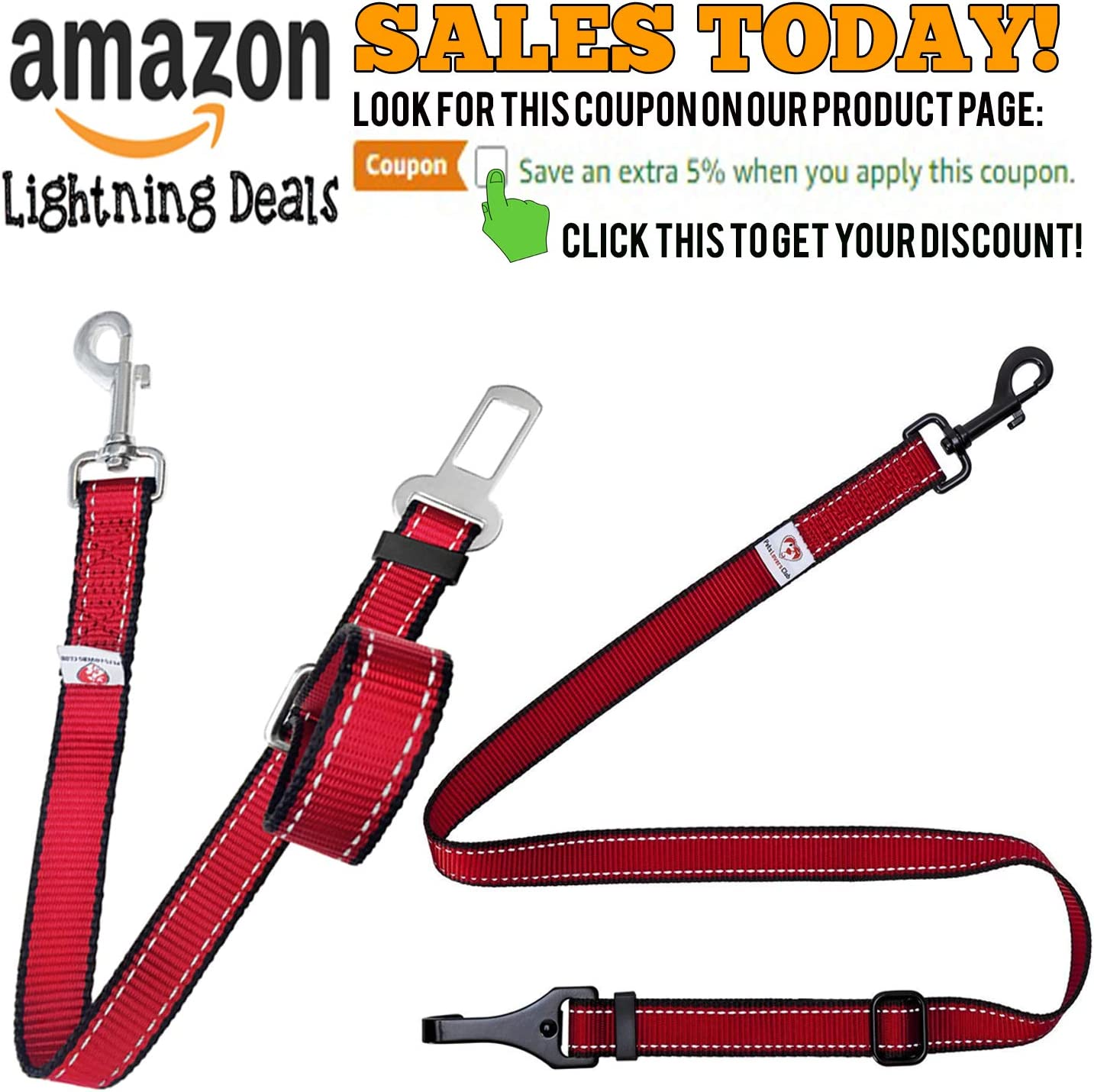 PetsLovers Durable Dog Seat Belt Premium Webbing 15-25in or 22-37in 2 Adjustable Sizes Reflective Lines
