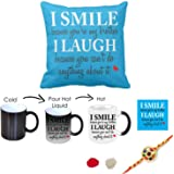 Rakshabandhan Rakhi Gifts Hamper Designer Rakhi for Brother with Roli Chawal & Funny Teasing I Smile I Laugh Brother Printed Best Quality Ceramic Magic Mug Cup with Table Coaster, Cushion Cover, Perfect Rakhi Gift Combo for Brother Bhaiya (Rakhi for Rakshabandhan, Rakhi Gifts for Brother, Rakhi)