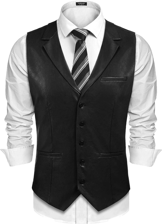 Steampunk Clothing, Fashion, Costumes COOFANDY Mens Leather Vest Casual Western Vest Jacket Lightweight V-Neck Suit Vest Waistcoat $32.99 AT vintagedancer.com
