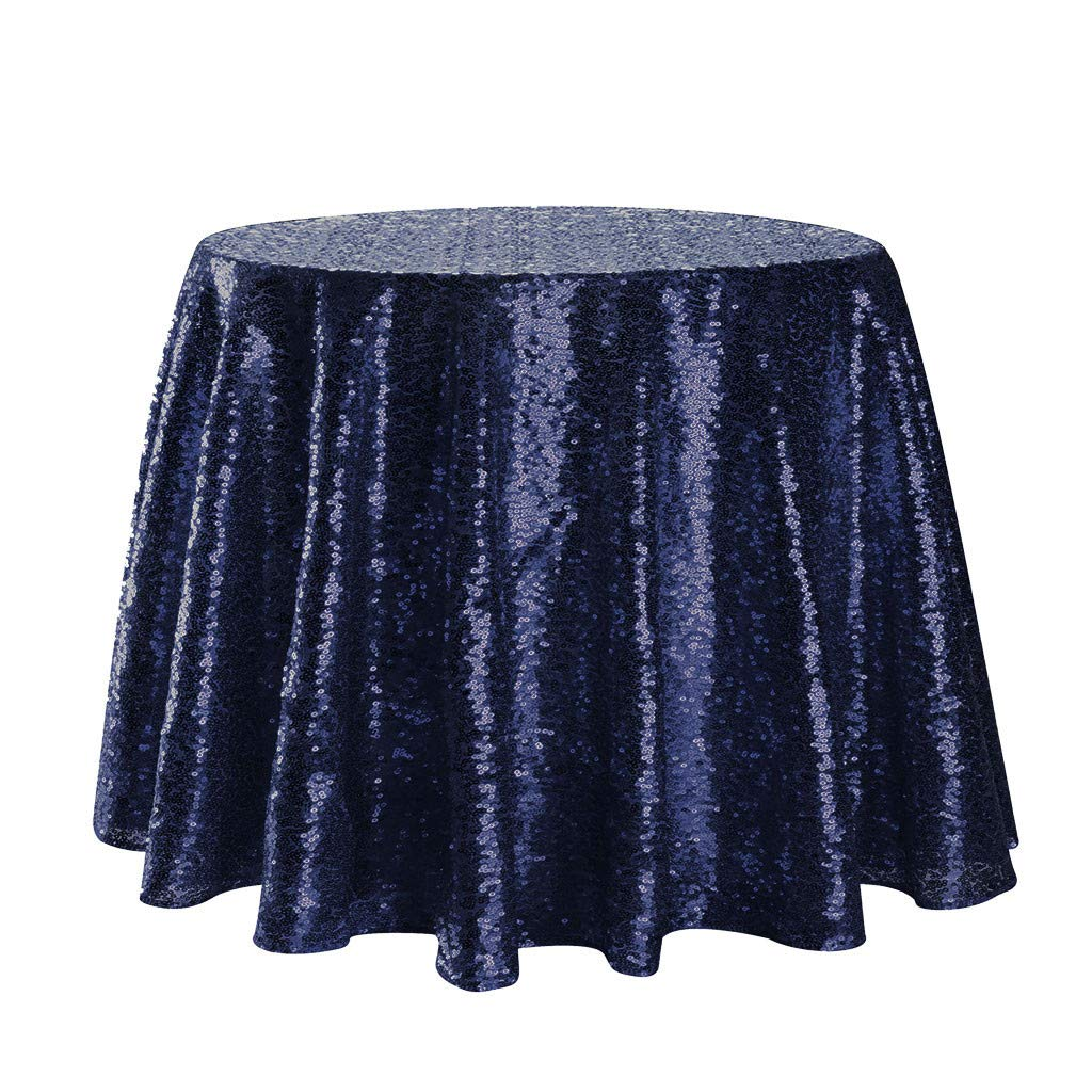 Jeeke Sparkle Round Tablecloth Shining Sequin Dining Table Cover Table Cloth for Wedding Banquets Party Decor, Navy by Jeeke