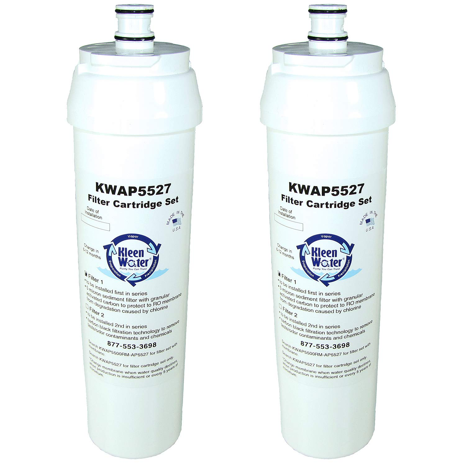 KleenWater KWAP5527 Dual Water Filter Cartridge Set for 3M AP5500 Reverse Osmosis System, Compatible with AP5527