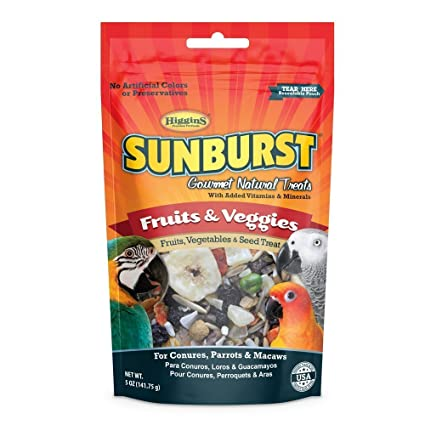 Higgins Sunburst Fruits & Veggies Gourmet Bird Treats, Parrot Treats. 5 oz. Great