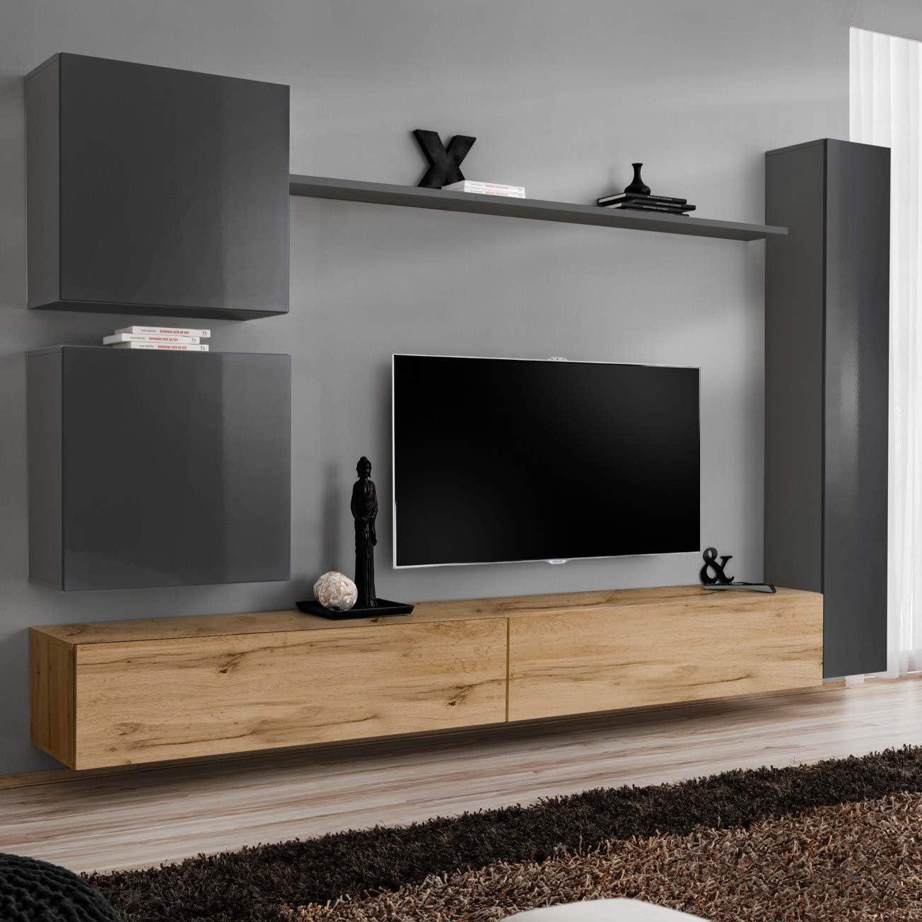 ASM SWITCH VIII Wohnwand 7cm breit TV-Bank Regale zwei