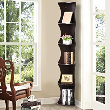 office corner shelf. yaheetech 5 tier brown round wall corner shelf skinny display rack casual home office furniture s