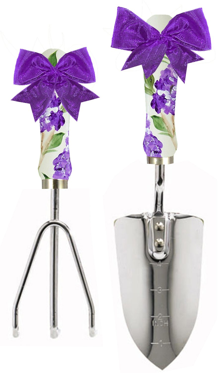 Cute Tools Stainless Steel Garden Shovel and Three Prong Rake - Landscaping Instrument, Hand Painted Wooden Handle In The USA, Durable Yard and Gardening Equipment From CuteTools! - Art For A Cause, Wisteria