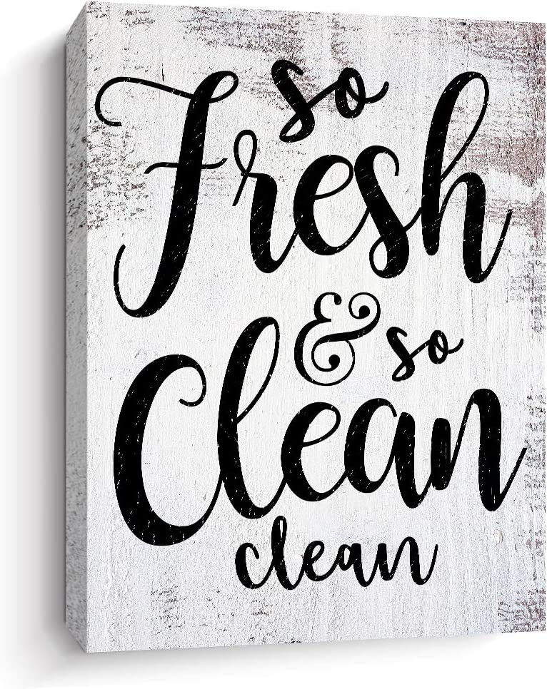 Bathroom Decor - So Fresh So Clean - Canvas Print Wall Art Rustic Framed Pictures Signs, 12 X 15 Inch (white)