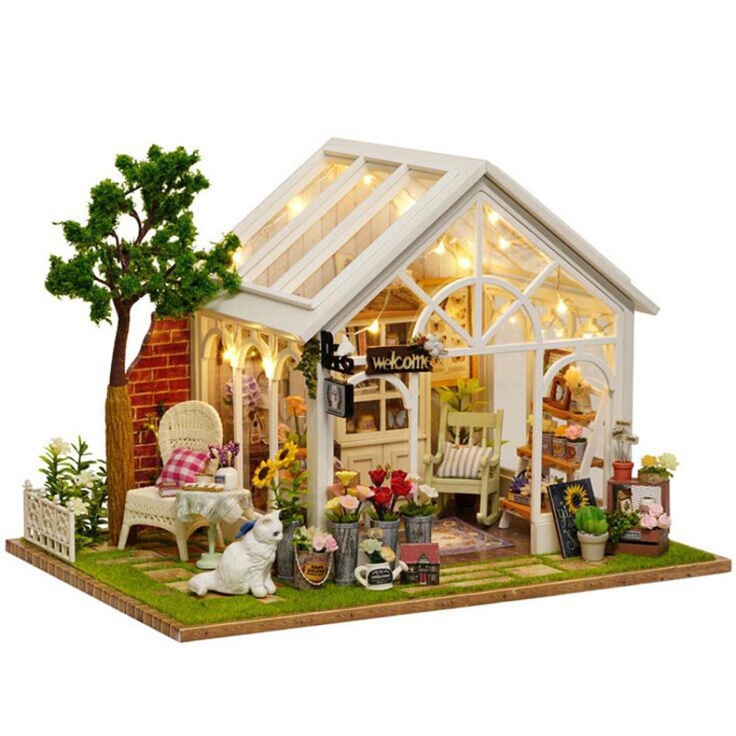huichang Dollhouse Miniature DIY house Kit Wooden Handmade Craft Gift Sunshine Green House With Cove
