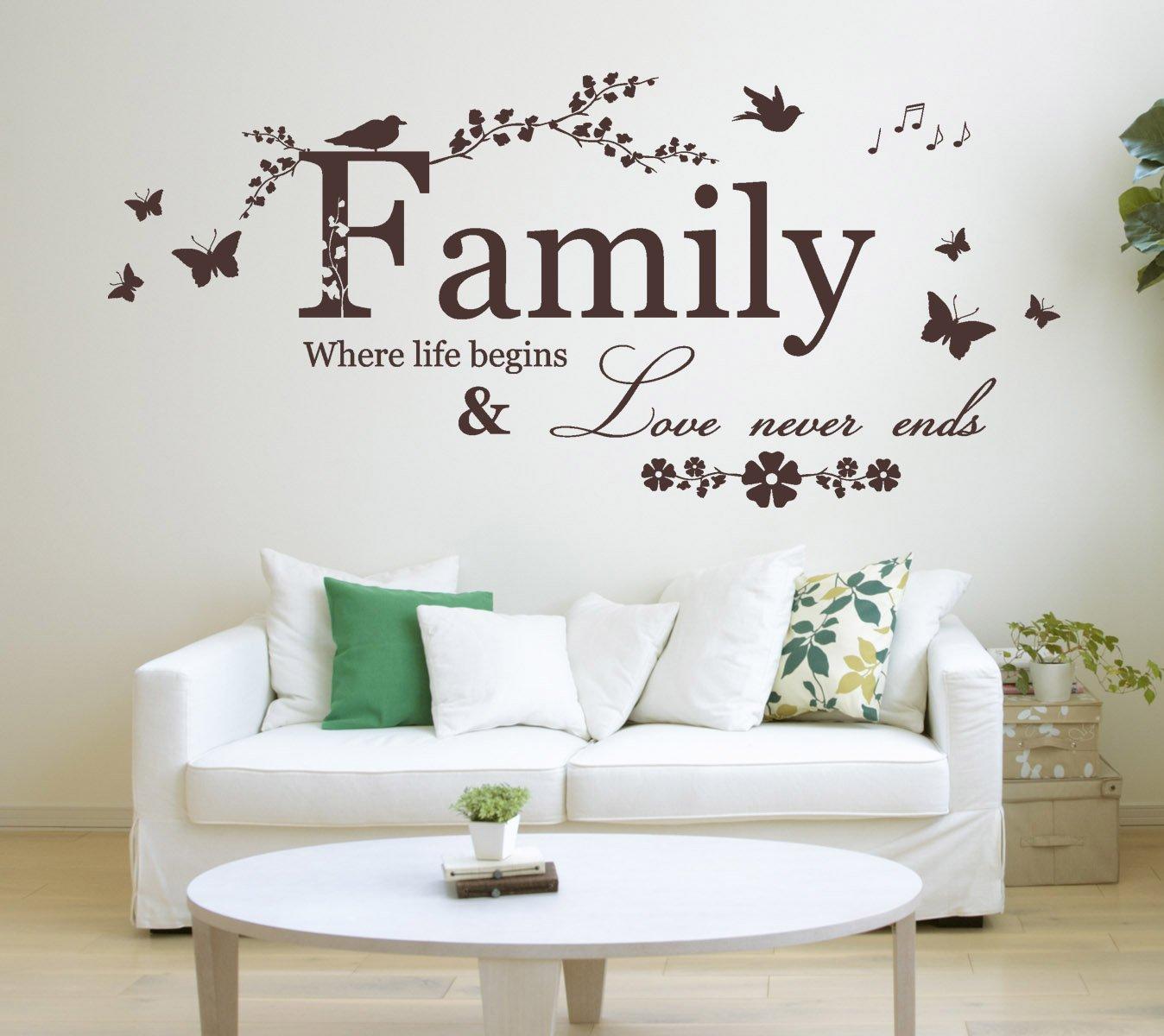 'Family, Where life begins & Love never ends' Citazione, adesivo muro in vinile arte. Murale, decalcomania. Casa, muro, decor. Soggiorno, camera da letto, Sala da pranzo 'Family