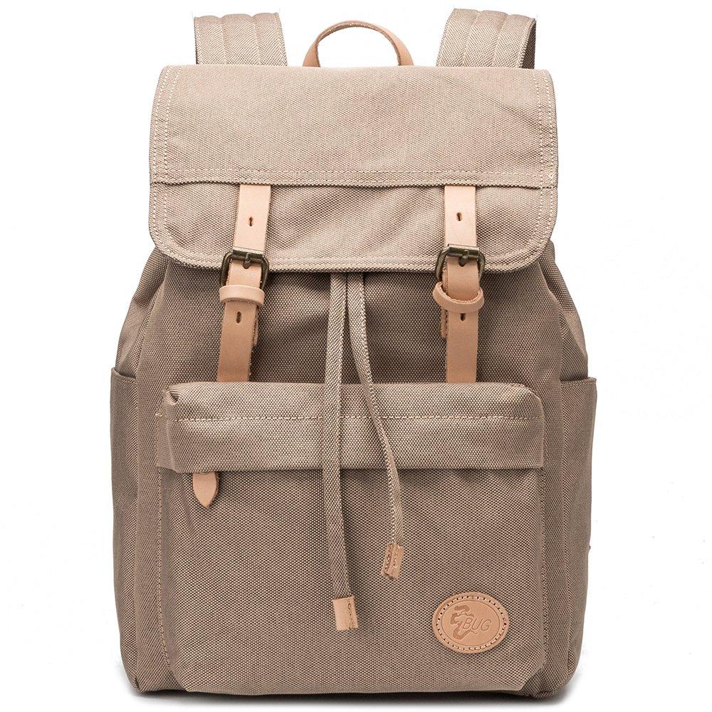BUG Vintage Waterproof Canvas Fabric Cotton Leather Backpack Man Women Bookbag New Rucksack Drawstring Large Unisex Laptop Travel