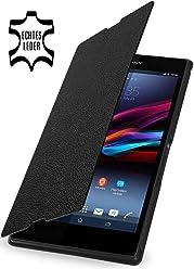 StilGut, custodia esclusiva UltraSlim Book Style in vera pelle per Sony Xperia Z Ultra XL39h, nero
