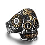 Amazon Price History for:AUMRET Halloween Skull Stainless Steel Simulated Silver Gothic Cross Ring