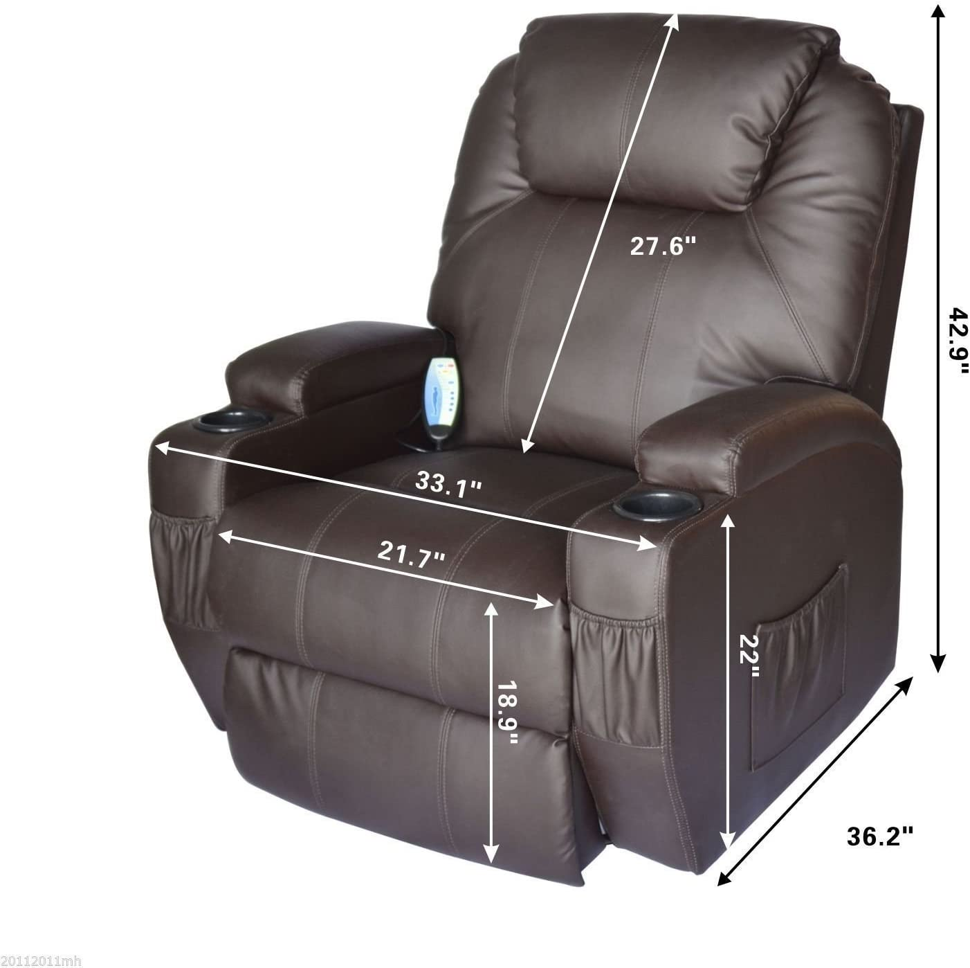 Homcom PU Leather Padded Recliner dimensions
