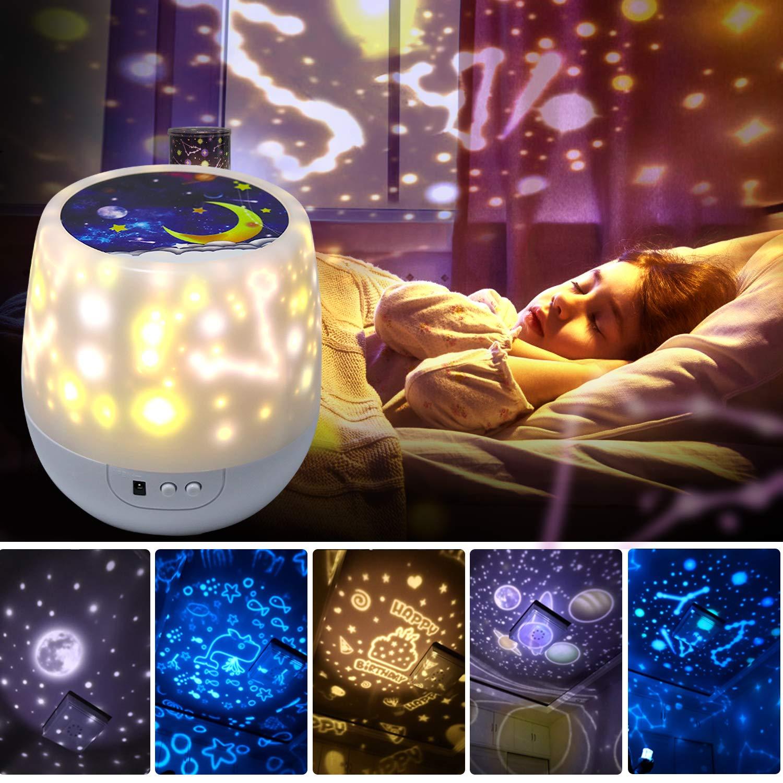 Shayson Night Lights for Kids Universe 360 Rotating Star Projector Lamp Romantic Star Sea Ocean Birthday Light Lamp for Kids Baby Room, Baby Nursery Light - 5 Sets of Film
