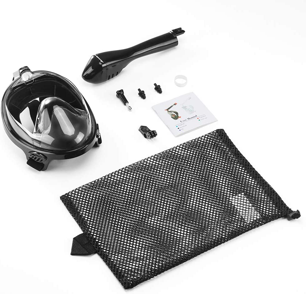 Avoalre Tauchmaske Erwachsene Schnorchelmaske,180/°Vollgesichtsmaske Anti-Fog Anti-Leck Easybreath Vollmaske mit Abnehmbare Kamerahalterung