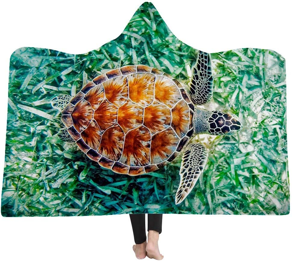RIC-CLO Hooded Blanket//Throw Blanket//Sofa Blanket Wearable Throw Sofa Nap Blanket Super Soft Sherpa Fleece Blanket Suitable for Adults and Kids Turtle