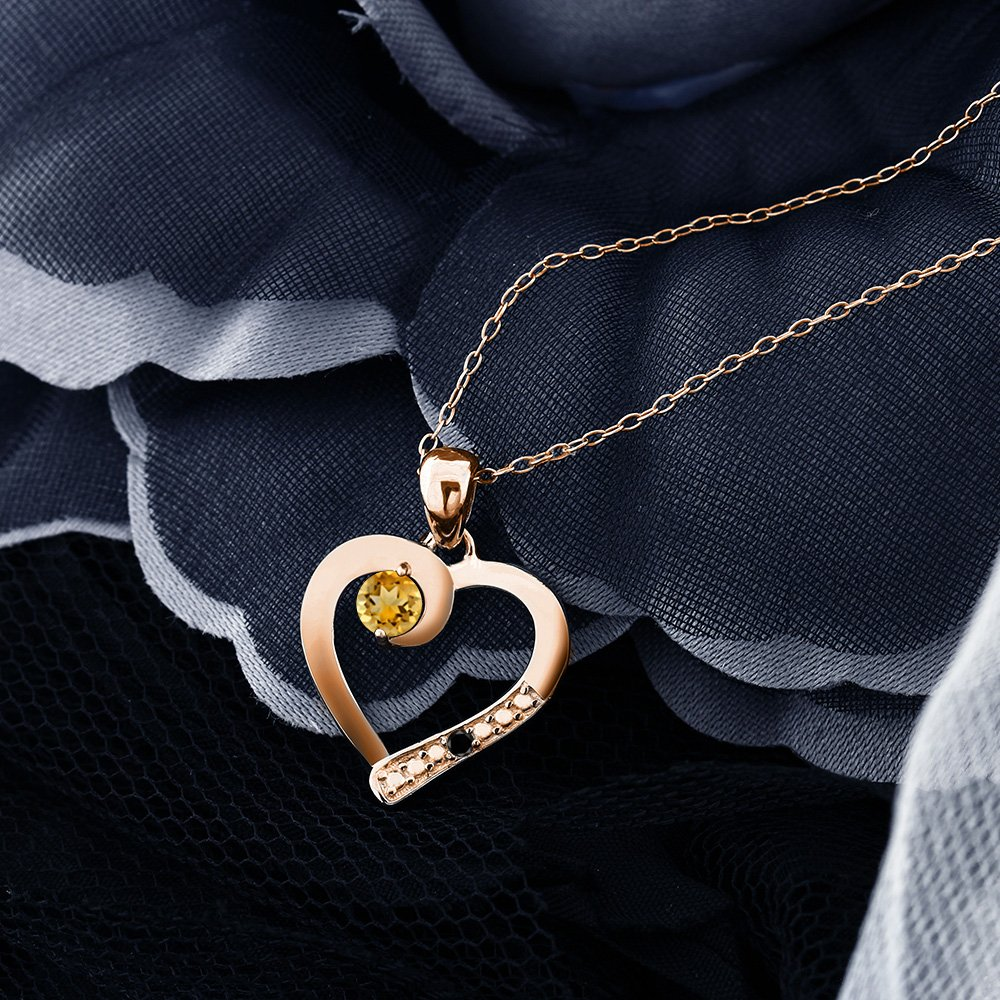 Gem Stone King Round Yellow Citrine Black Diamond 18K Rose Gold Plated Silver Pendant 0.28 cttw