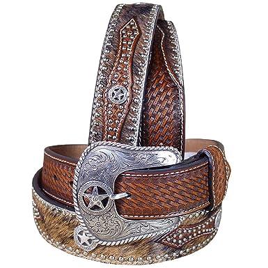 Nocona Western Belt Mens Leather Hair Star Concho 40 Brown N2506808