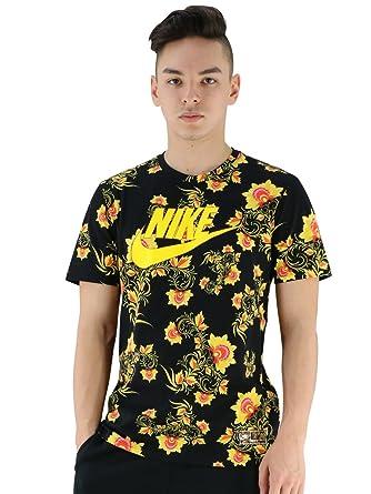 42100587cbdb0 Amazon | (ナイキ) NIKE フローラル柄Tシャツ Tシャツ ブラックイエロー カットソー 半袖 ブラック/ツアーイエロー |  Tシャツ・カットソー 通販