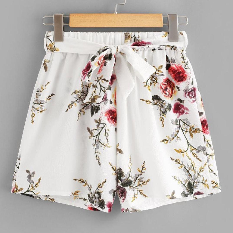 SHOBDW Pantalones Cortos el/ásticos de la Playa de la impresi/ón de la Raya de Las Mujeres del Verano de la Cintura Alta Pantalones Cortos Flojos de la Playa del Dril de algod/ón