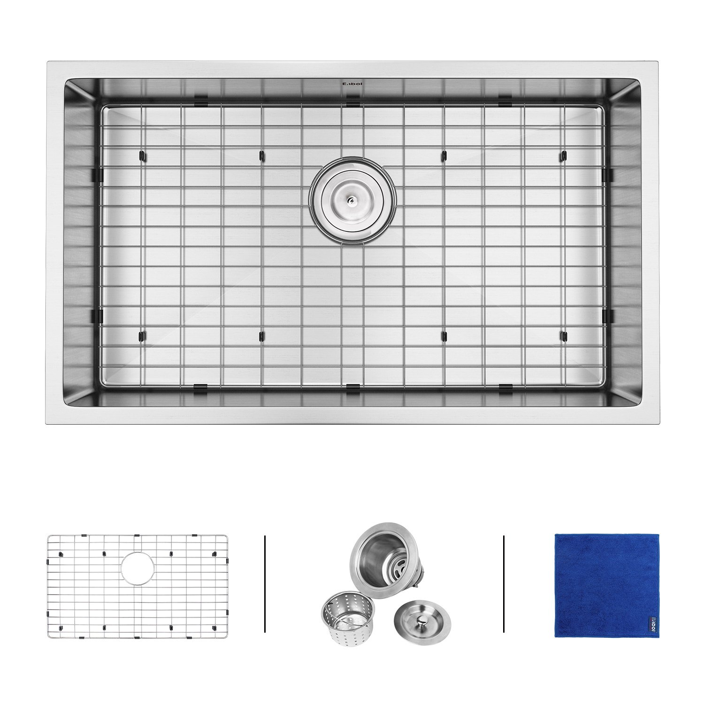 Enbol SD3219 32-inch Undermount Single Bowl 16 Gauge Stainless Steel Kitchen Sink 10 Inch Deep Drop In