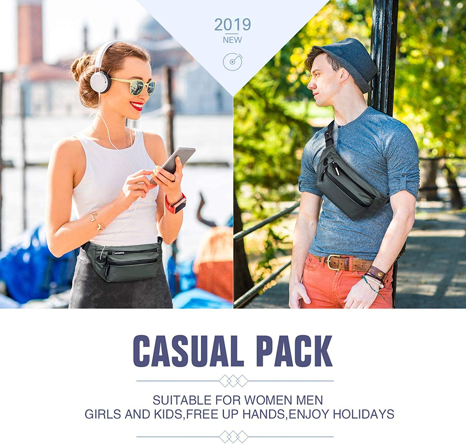Cute Fanny Pack for Girls with 3 Pouches Adjustable Belt DONVITER Fanny Packs for Women Men Casual Hip Bag Bum Bags for Travel Festival Hiking Running Waterproof Men Waist Bag