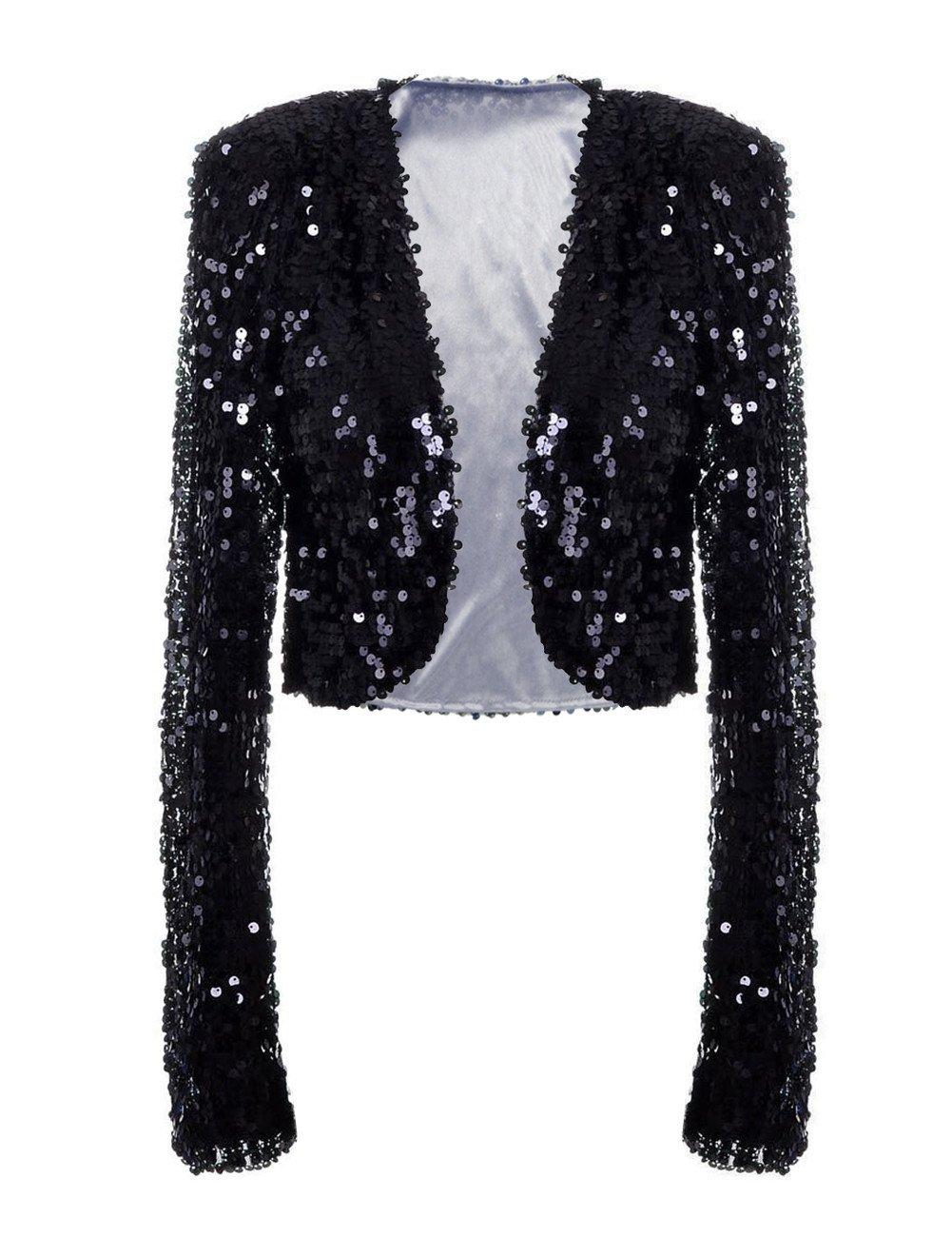 PrettyGuide Women Sequin Cropped Jacket Long Sleeve Sparkly Bolero DS Clubwear Black M/US6-8