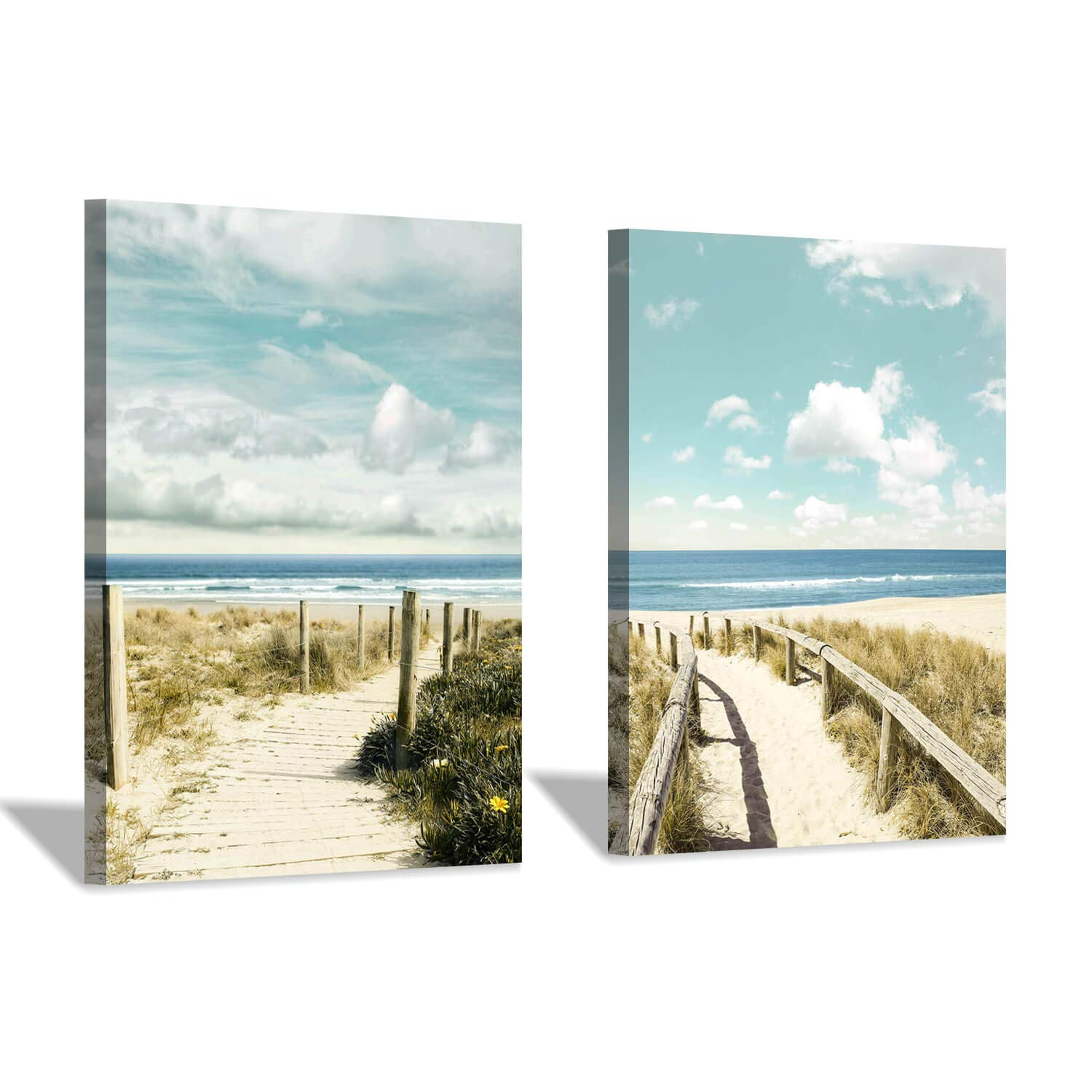 Beach Pathway Canvas Wall Art: Coastal Fences Picture Painting Print for Wall Decor(12''x16''x2pcs)