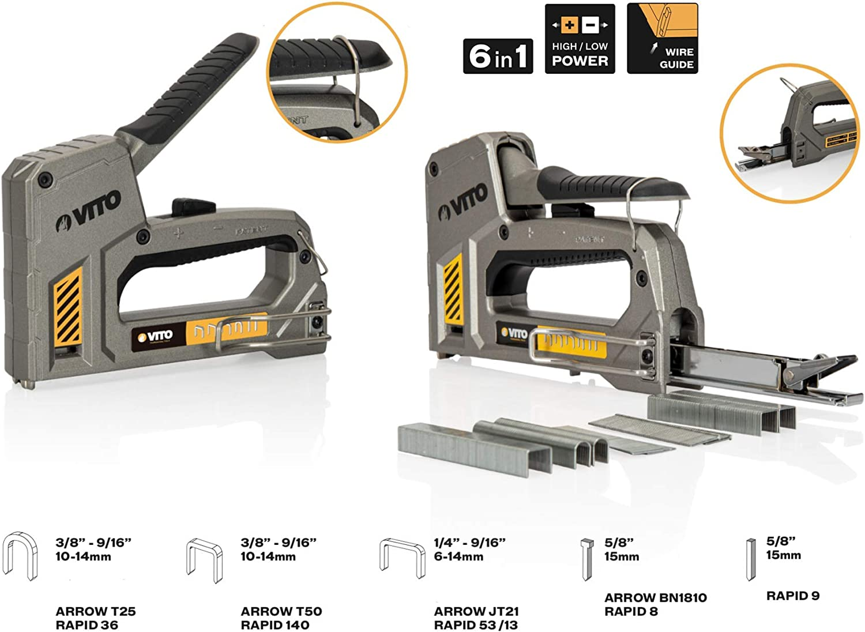 Hochwertiger /& leistungsstarker Werkzeugtacker verarbeitet sechs verschiedenen Klammer//N/ägel//Stifte Handtacker 6in1 mit einstellbarer Schusskraft VITO Pro