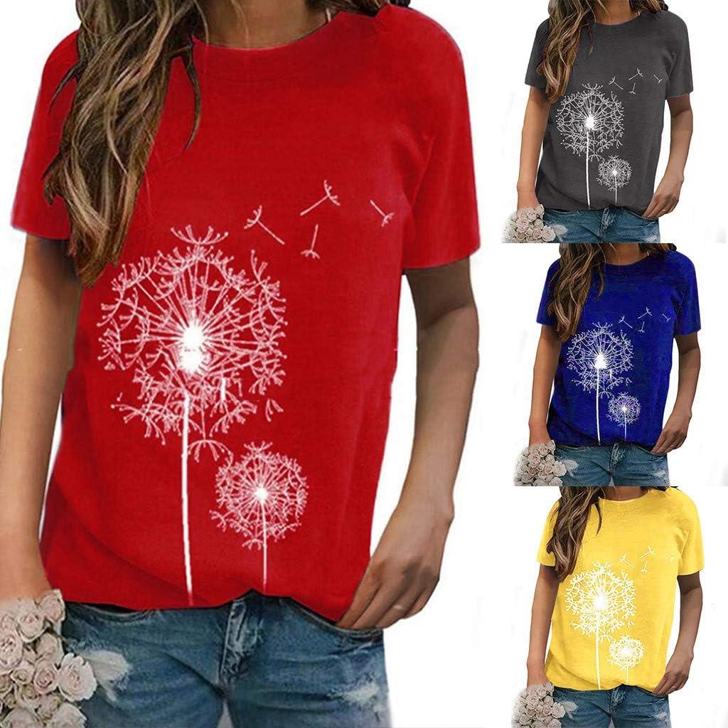 Womens Tops Fashion Print Short Sleeve Casual Shirt Summer Daily T-Shirt Blouse