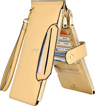 4 zippers coins Genuine leather bills Fits credit cards GOLD color leather wallet. Small purse in GOLD