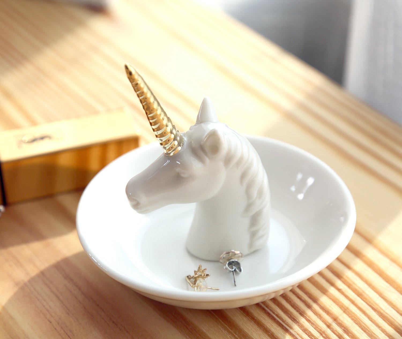 PUDDING CABIN White Unicorn Small Jewelry Rack Rings Bracelets Earrings Trays Holder