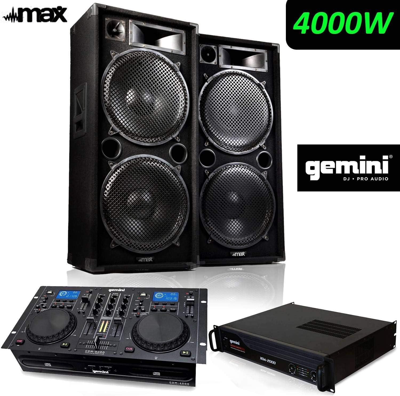 Pack sono completo 4000 W Pro DJ max-215 Full Range 4 x 38 cm + ...