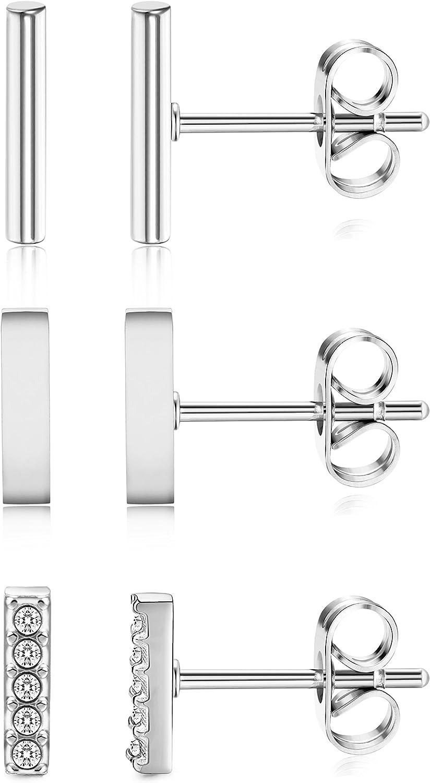 ORAZIO 3 Pairs 20G Stainless Steel Mini Bar Earring Line Ear Studs Stick Stud Earrings For Women and Men