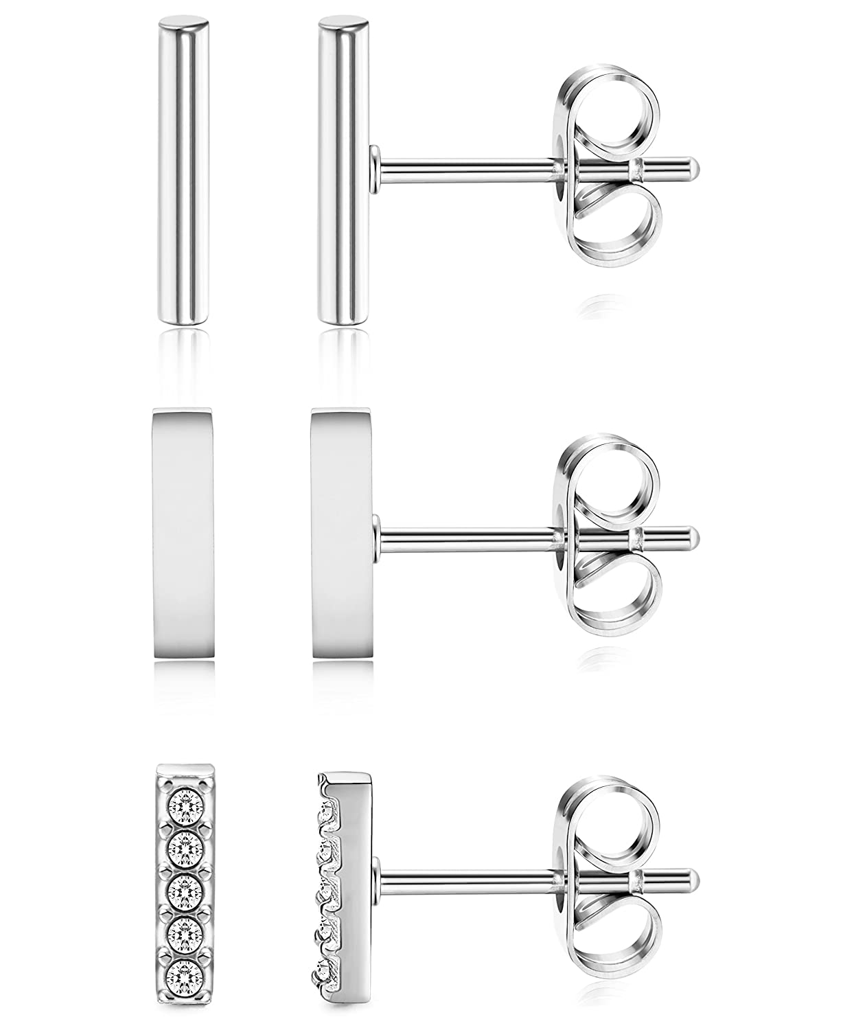 ORAZIO 3 Pairs 20G Stainless Steel Mini Bar Earring Line Ear Studs Stick Stud Earrings For Women and Men EH31-S