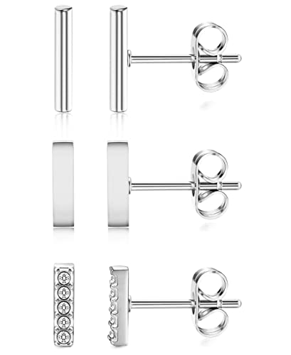 7e29913a2138 ORAZIO 3 Pairs 20G Stainless Steel Mini Bar Earring Line Ear Studs Stick Stud  Earrings For